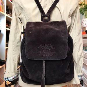 Vintage Authentic CHANEL Suede Drawstring Backpack